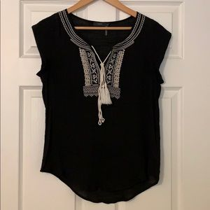 Howard Embroidered Tie Neck Top